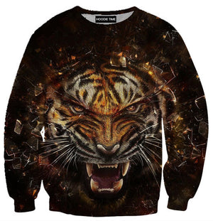 Fierce Tiger Hoodie - 3D Pullover Hoodies and Clothing-Hoodie Time - Anime and Gaming Hoodies