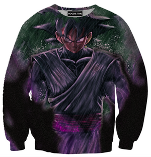 Dragon Ball Z Hoodies - Sinister Goku Black Hoodie - DBZ 3D Clothing-Hoodie Time - Anime and Gaming Hoodies