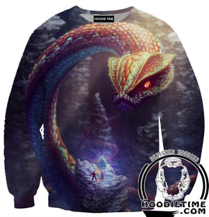 Giant Snake vs Adventurer Dungeons and Dragons Hoodie - Fantasy Hoodies - 3D Clothing-Hoodie Time - Anime and Gaming Hoodies