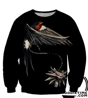 Witcher 3 Hoodies - Witcher Geralt Wolf Medallion Raven Hoodie - 360 Printed Clothing-Hoodie Time - Anime and Gaming Hoodies