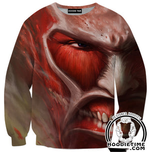 Attack on Titan Hoodie - Titan Face Hoodie - Anime Clothes-Hoodie Time - Anime and Gaming Hoodies