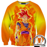 Super Saiyan God Goku Hoodie - Dragon Ball Z Hoodies Full Printed Clothing-Hoodie Time - Anime and Gaming Hoodies