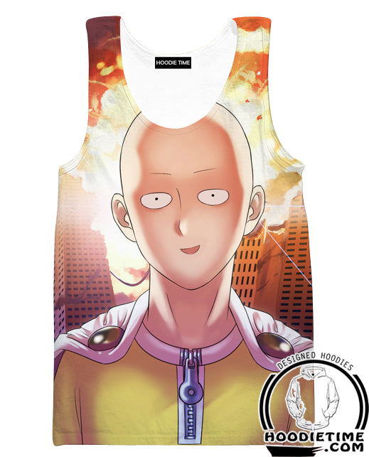 One Punch Man Gym Shirts - Excited Saitama Tank Top - Anime Clothing-Hoodie Time - Anime and Gaming Hoodies