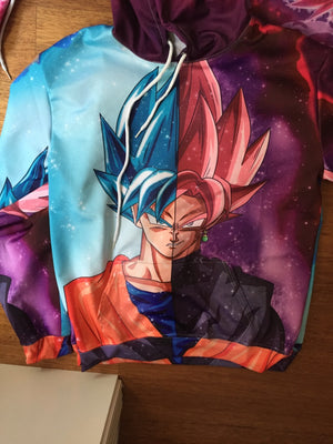 Dragon Ball Super Z - Half Super Saiyan Rose Black Goku and SSJB Blue Goku Shirt - 3D Shirt-Hoodie Time - Anime and Gaming Hoodies