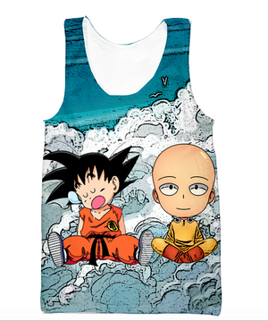 Dragon Ball Z and One Punch Man - Kid Goku and Saitama Hoodie - 3D Pullover Hoodie-Hoodie Time - Anime and Gaming Hoodies