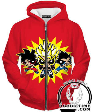 Dragon Ball Z Power Puff Girls Hoodie - Dragon Ball Z Hoodies Full Printed Clothing-Hoodie Time - Anime and Gaming Hoodies