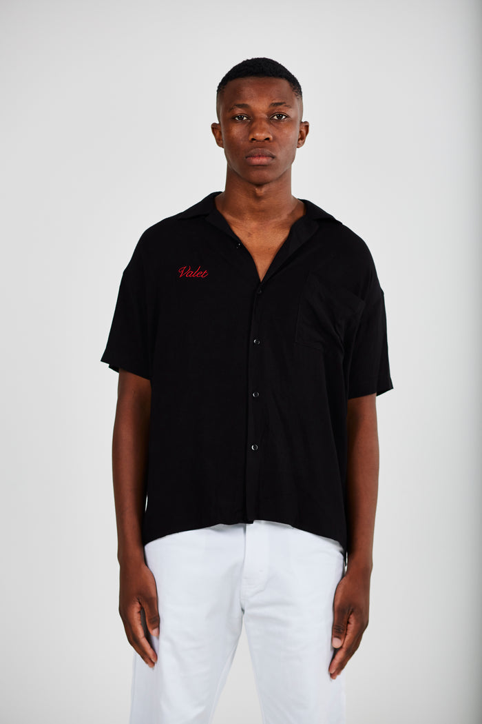 Valet Revere Collar Shirt In Black
