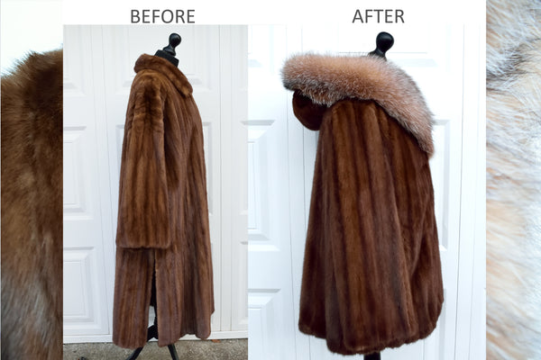 Brown Mink & Crystal Fox Fur Hooded Coat - Remodelled Vintage
