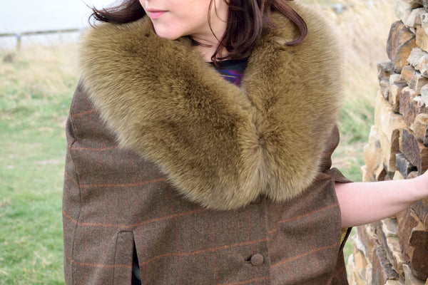 """Hawthorn"" Wool Cape with Fox Collar"