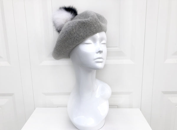 Black and White Pompom Beret