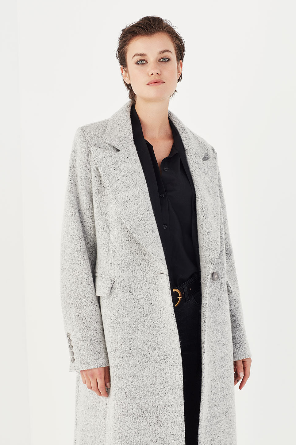 The Carter Coat in Silver Melange