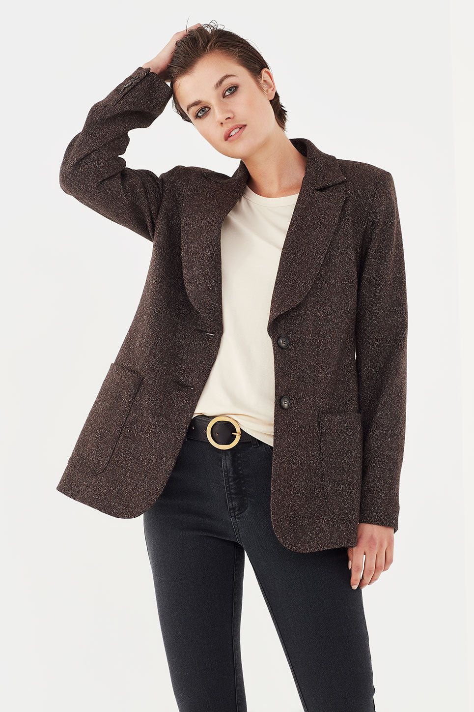 The Asher Jacket in Chocolate Tweed