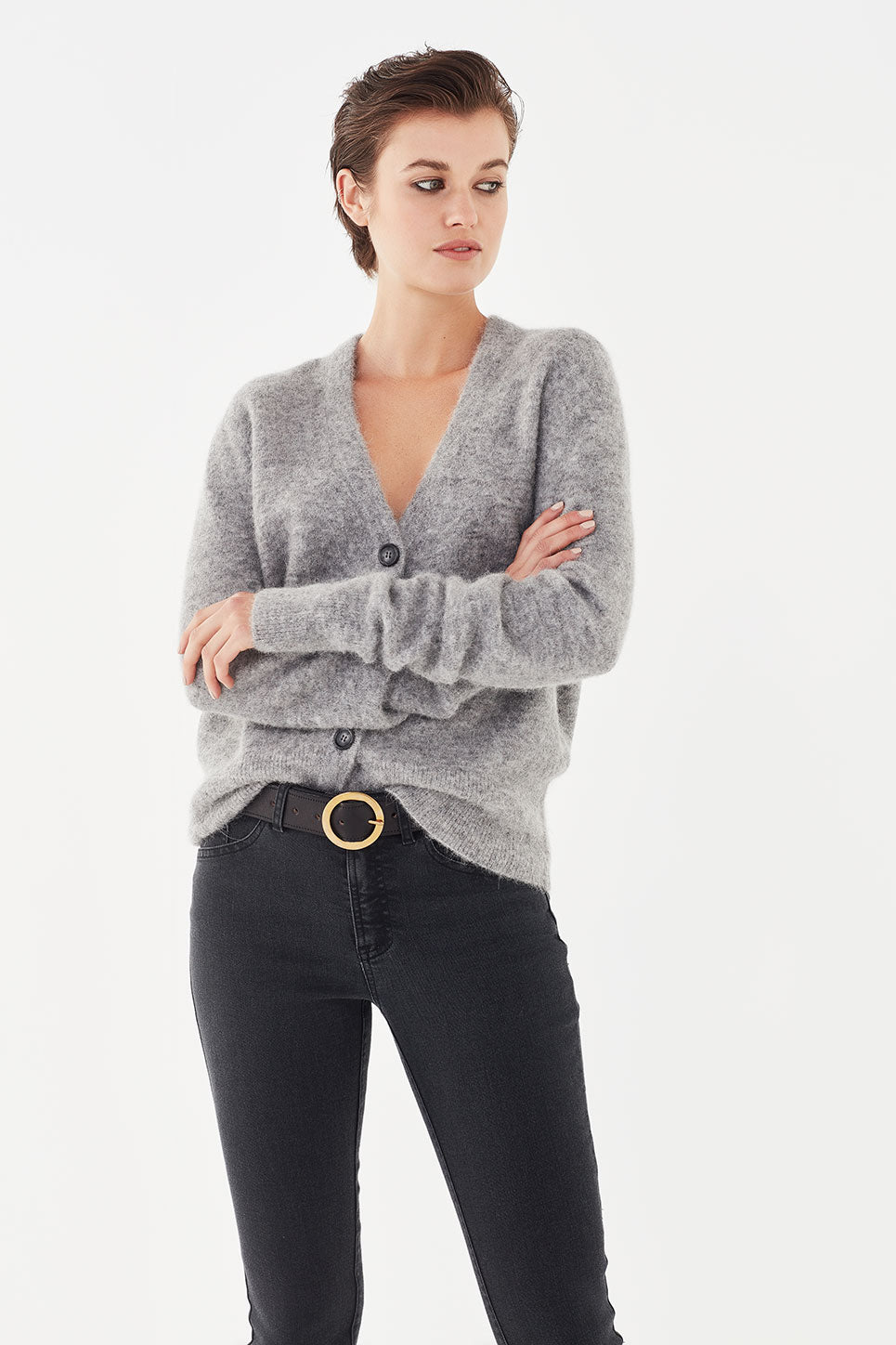 The Crosby Cardi in Grey Mélange