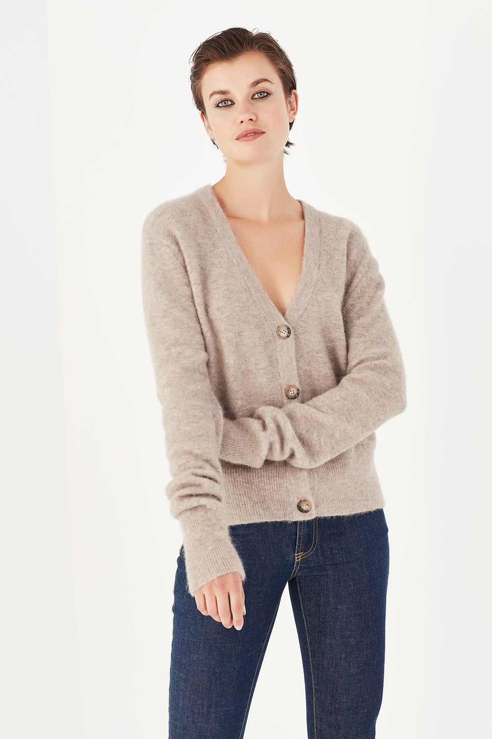 The Crosby Cardi in Chai Mélange