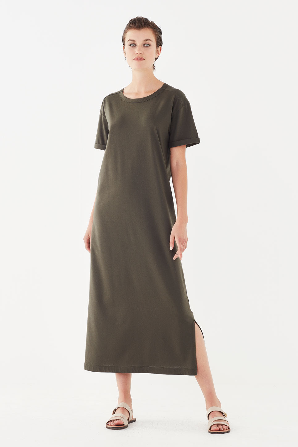 The Bastion Tee Dress in Olive Green