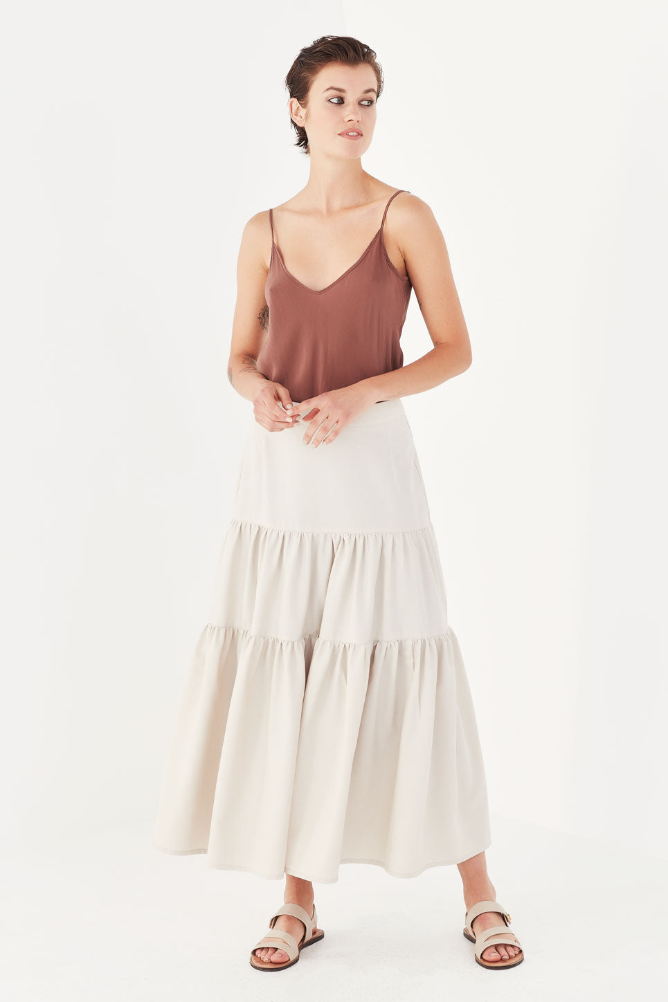 The Iris Skirt in Bone