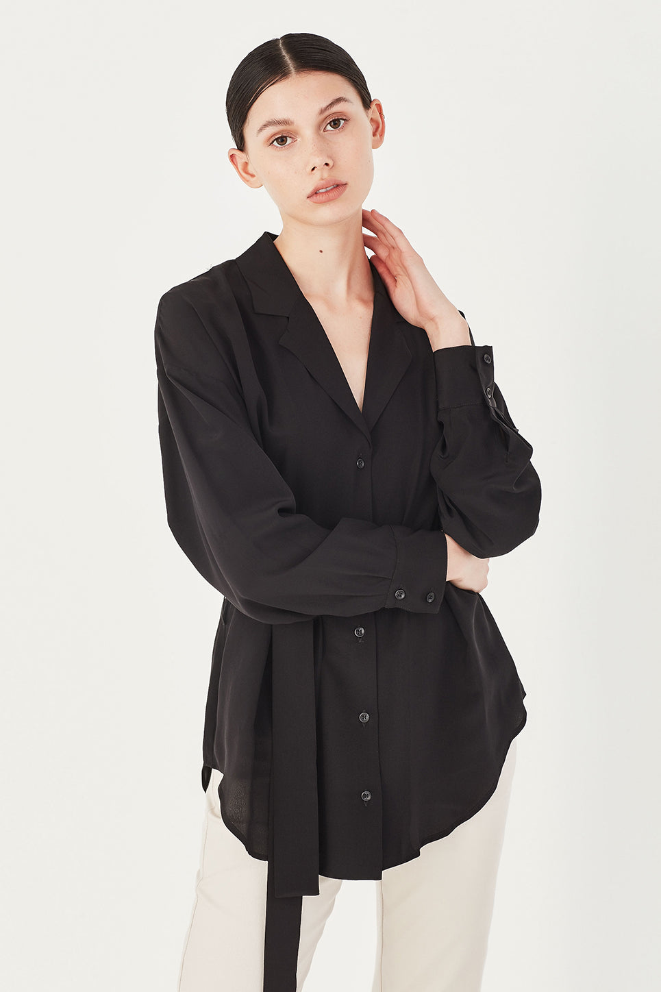 The Hawk Shirt in Black Silk