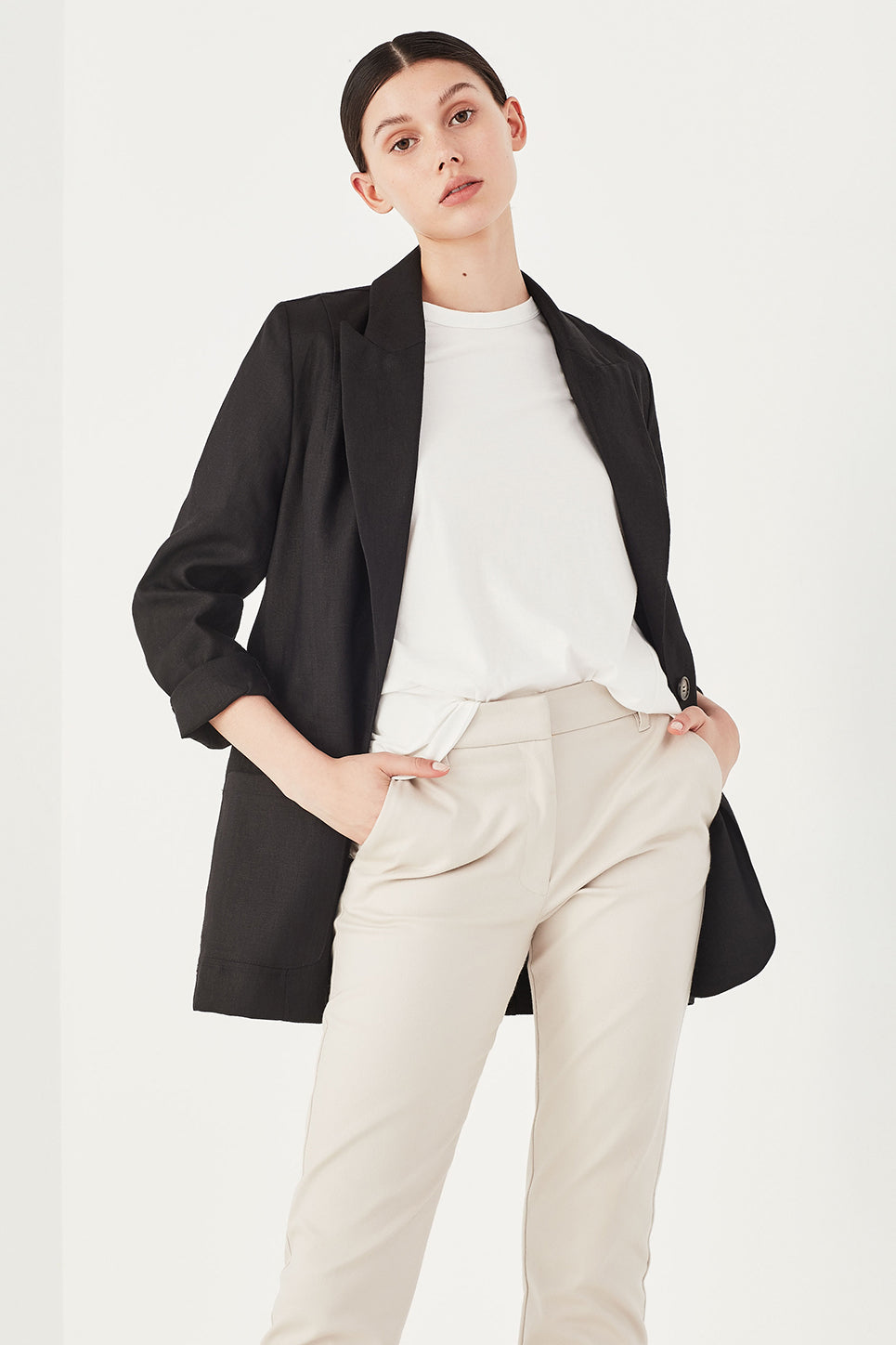 The Ada Jacket in Black Linen