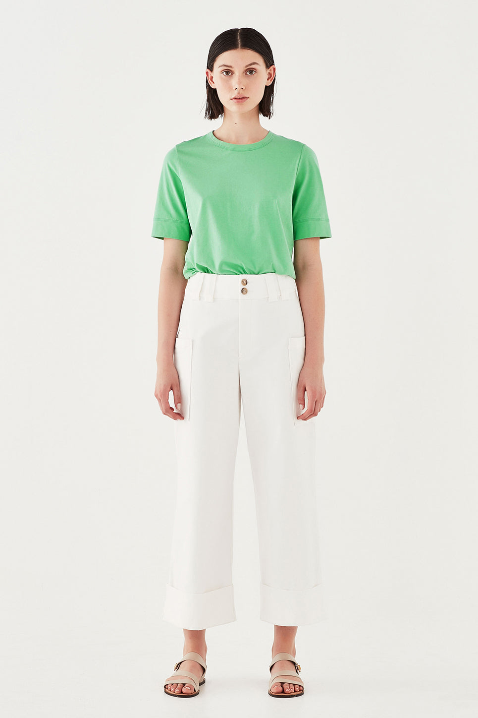 The Column Tee in Green Apple