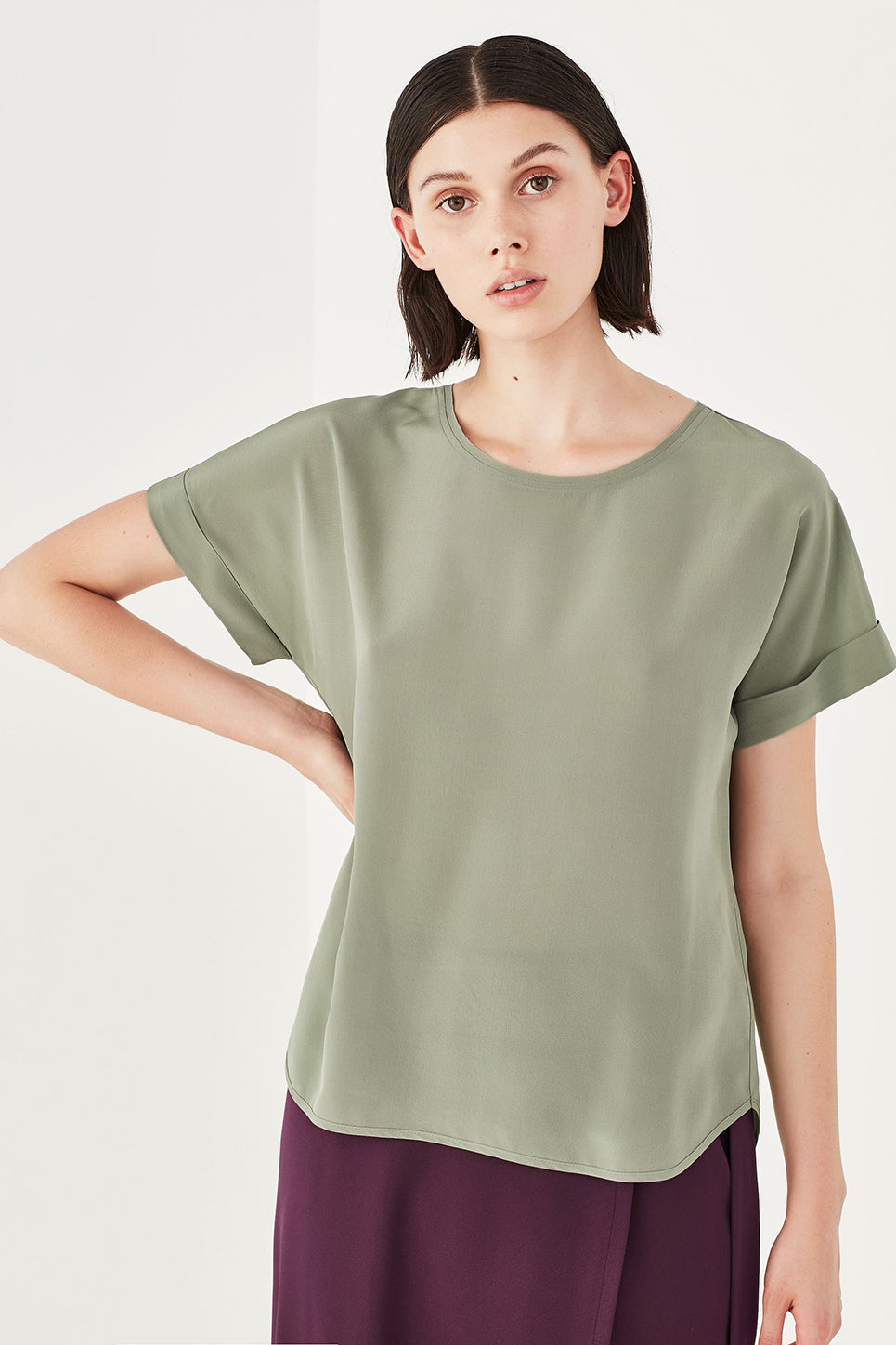 The Essence Tee in Sage Silk