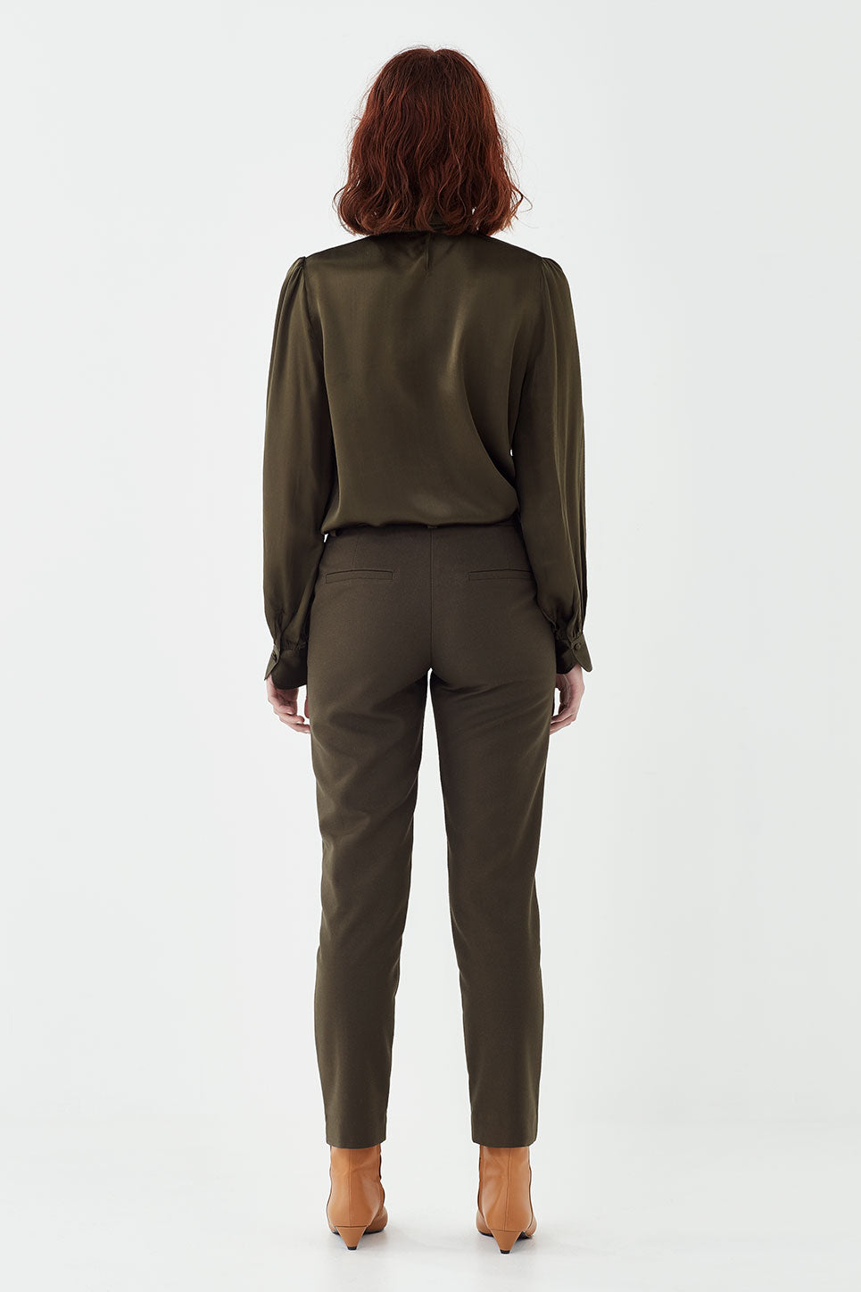 The Bowie Blouse in Hunter Green