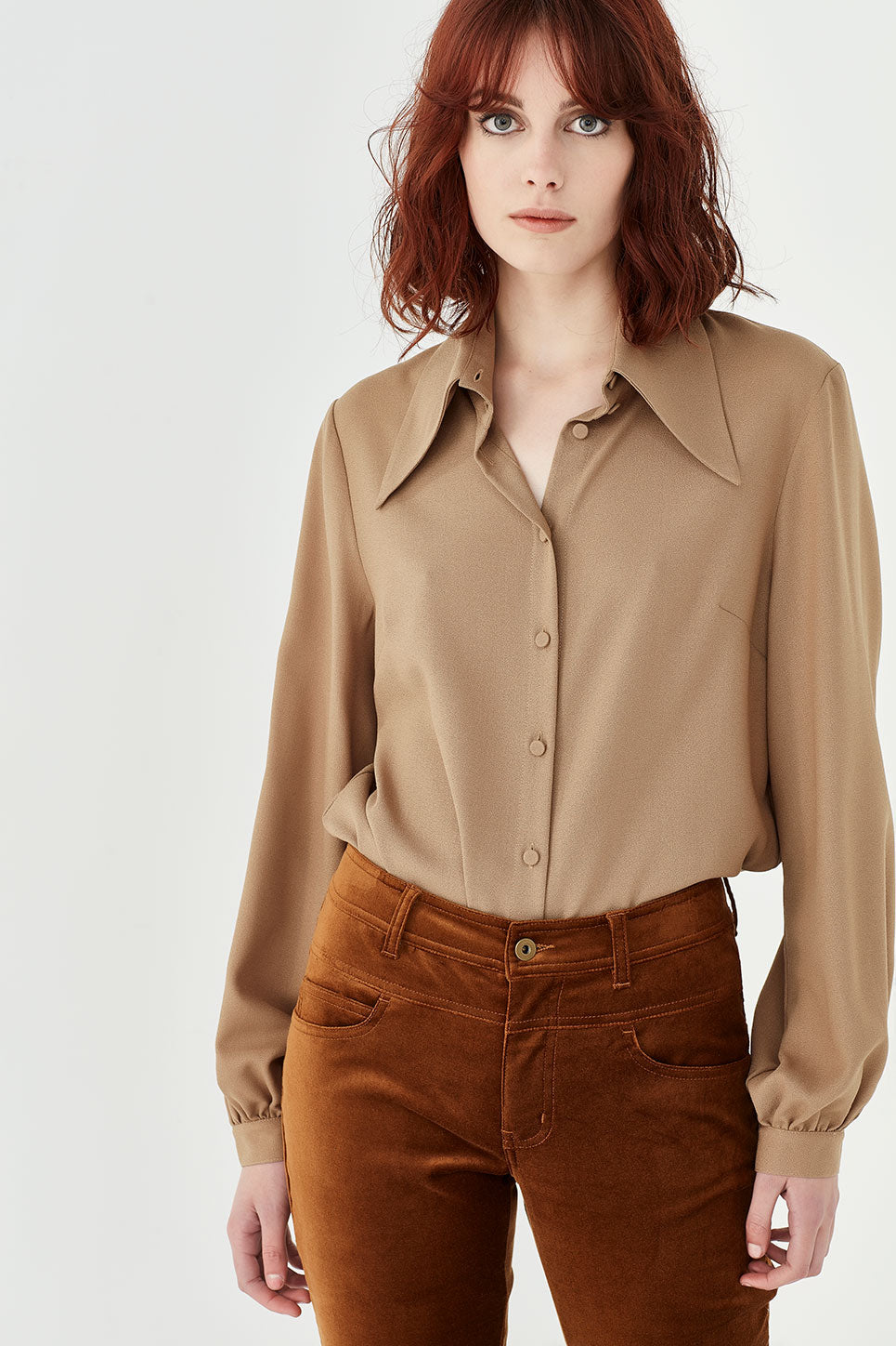 The Lennon Blouse in Tan