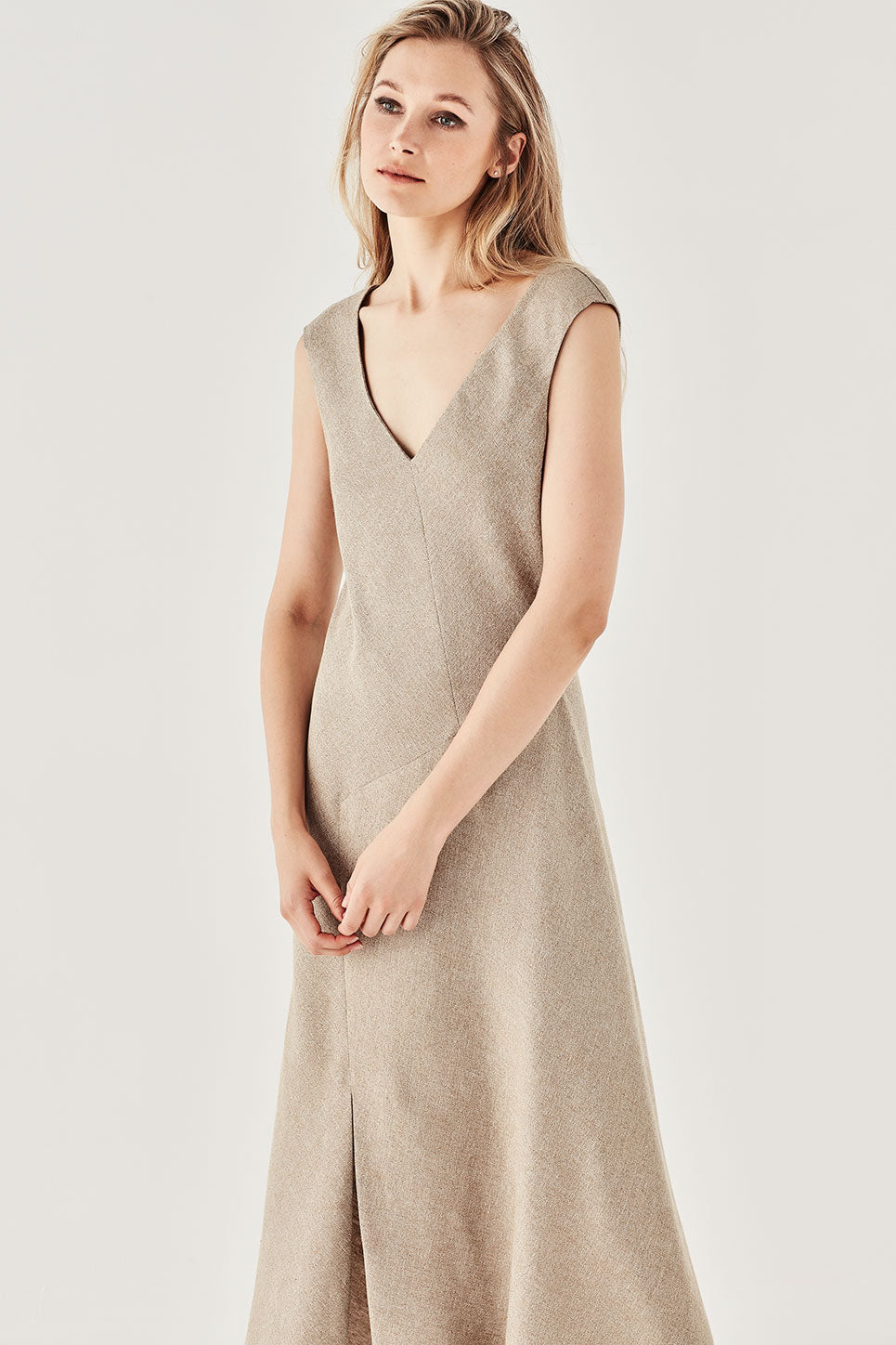 The Mawson Dress in Biscuit