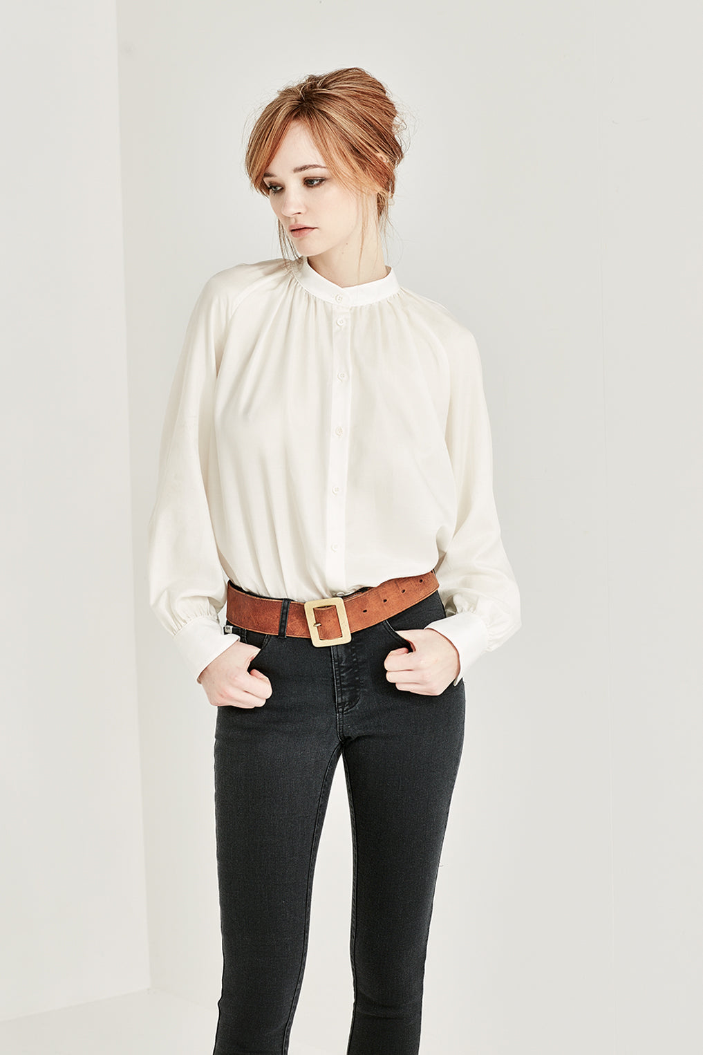 The Hitchcock Blouse in Ivory