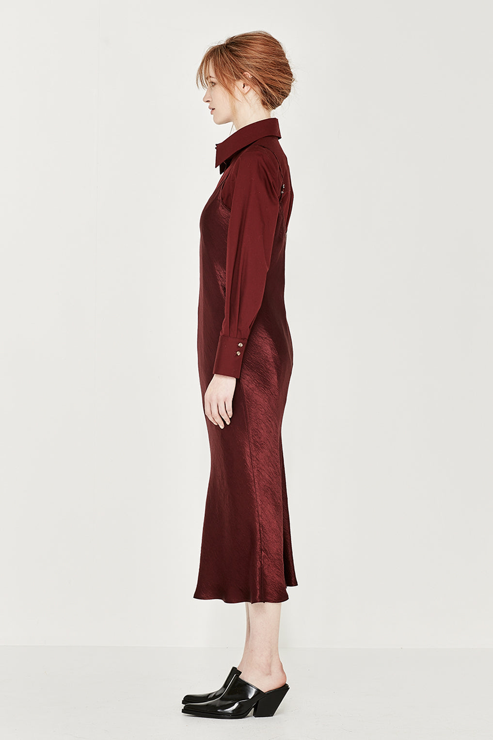 The Corsica Slip Dress in Crushed Bordeaux