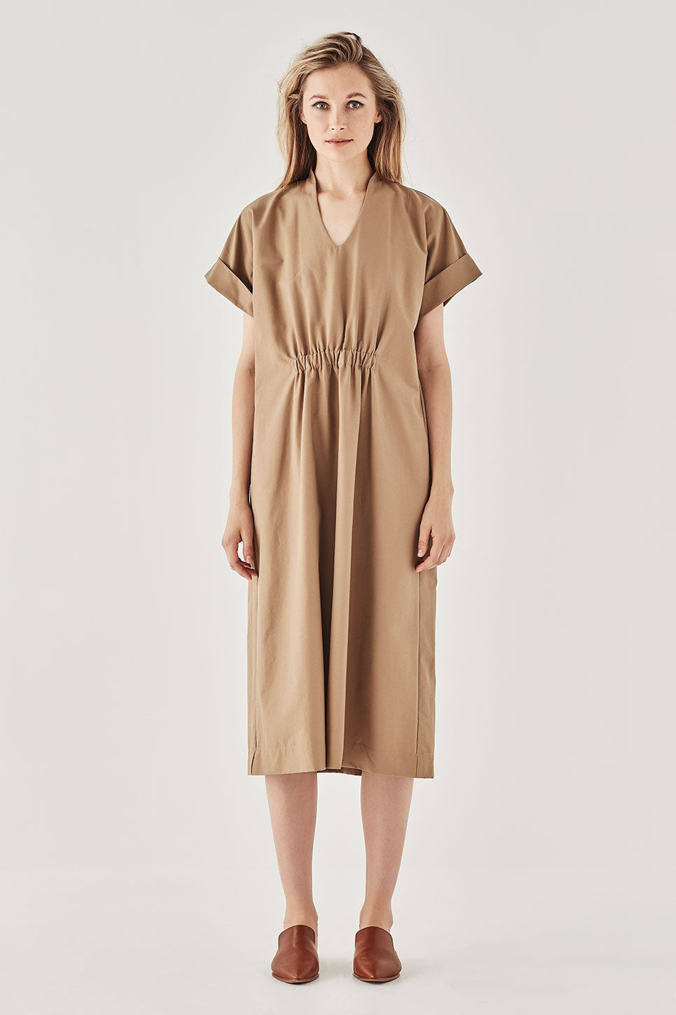 The Cordelia Dress in Tan