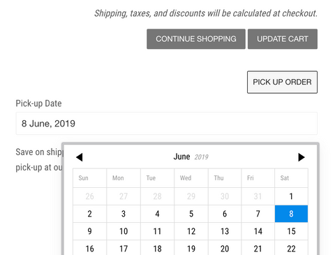 Pick Up Option Date Selection