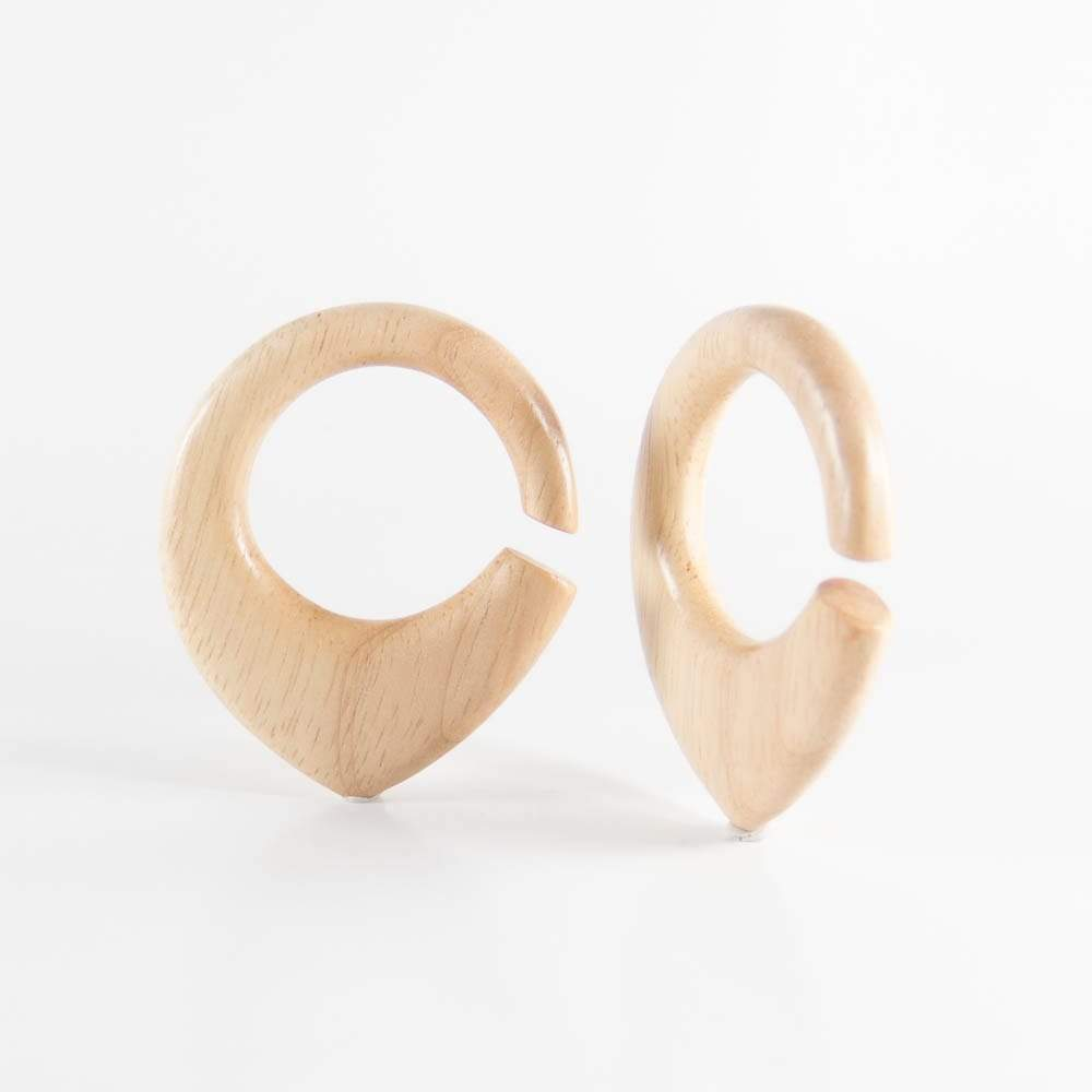 Hevea Wood Hoop Ear Weights - Bare Bones Organics