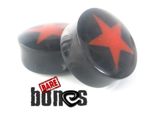 Pair of reversible natural buffalo horn double flared star plugs. - Bare Bones Organics