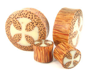 Coconut Palm Cross Graphic Plugs - Bare Bones Organics