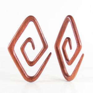 Blood Wood Diamond Spirals (Pair)