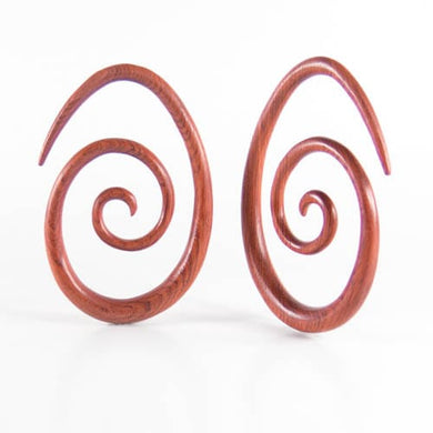 Blood Wood Oval Spirals (Pair)