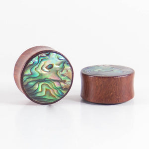 Blood Wood Round Plugs with Abalone Shell (Pair)