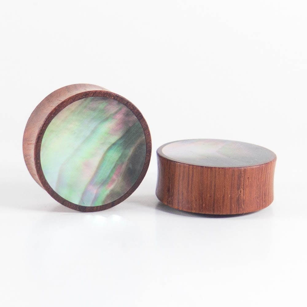 Blood Wood Round Plugs with Black Pearl Shell (Pair)
