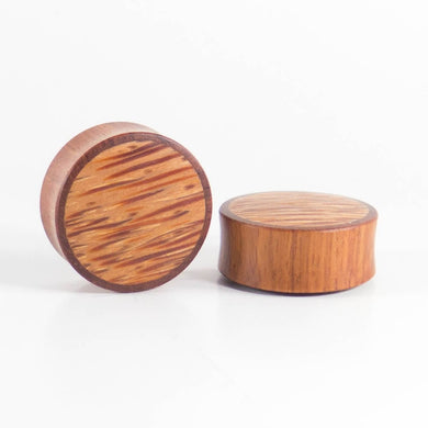 Blood Wood Round Plugs with Coconut Palm (Pair) - Bare Bones Organics