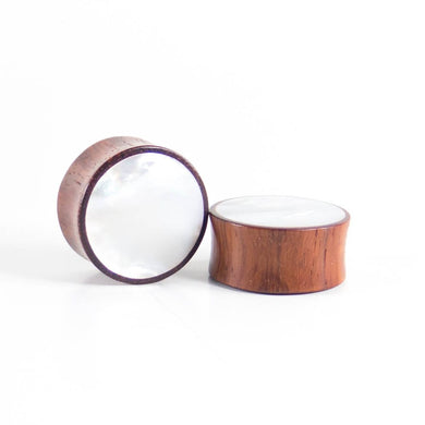 Blood Wood Round Plugs with Mother of Pearl Shell (Pair) - Bare Bones Organics
