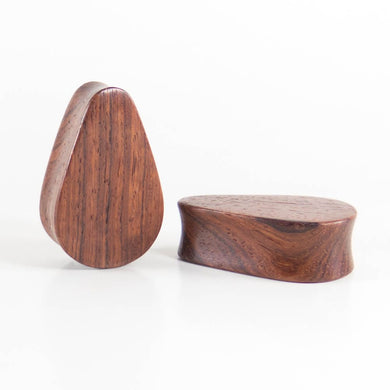 Blood Wood Tall Teardrop Plugs (Pair) - Bare Bones Organics