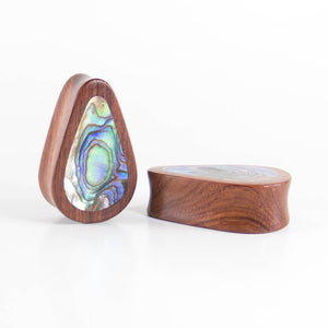 Blood Wood Tall Teardrop Plugs with Abalone Shell Inlay