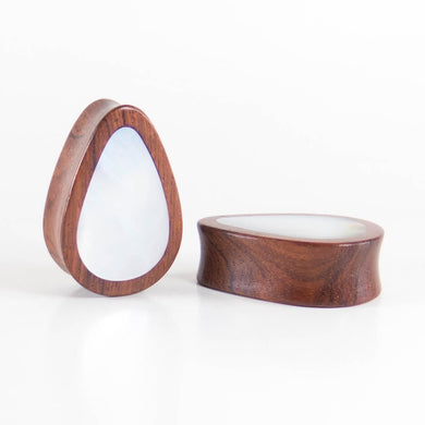 Blood Wood Teardrop Plugs with Mother of Pearl Shell (Pair) - Bare Bones Organics