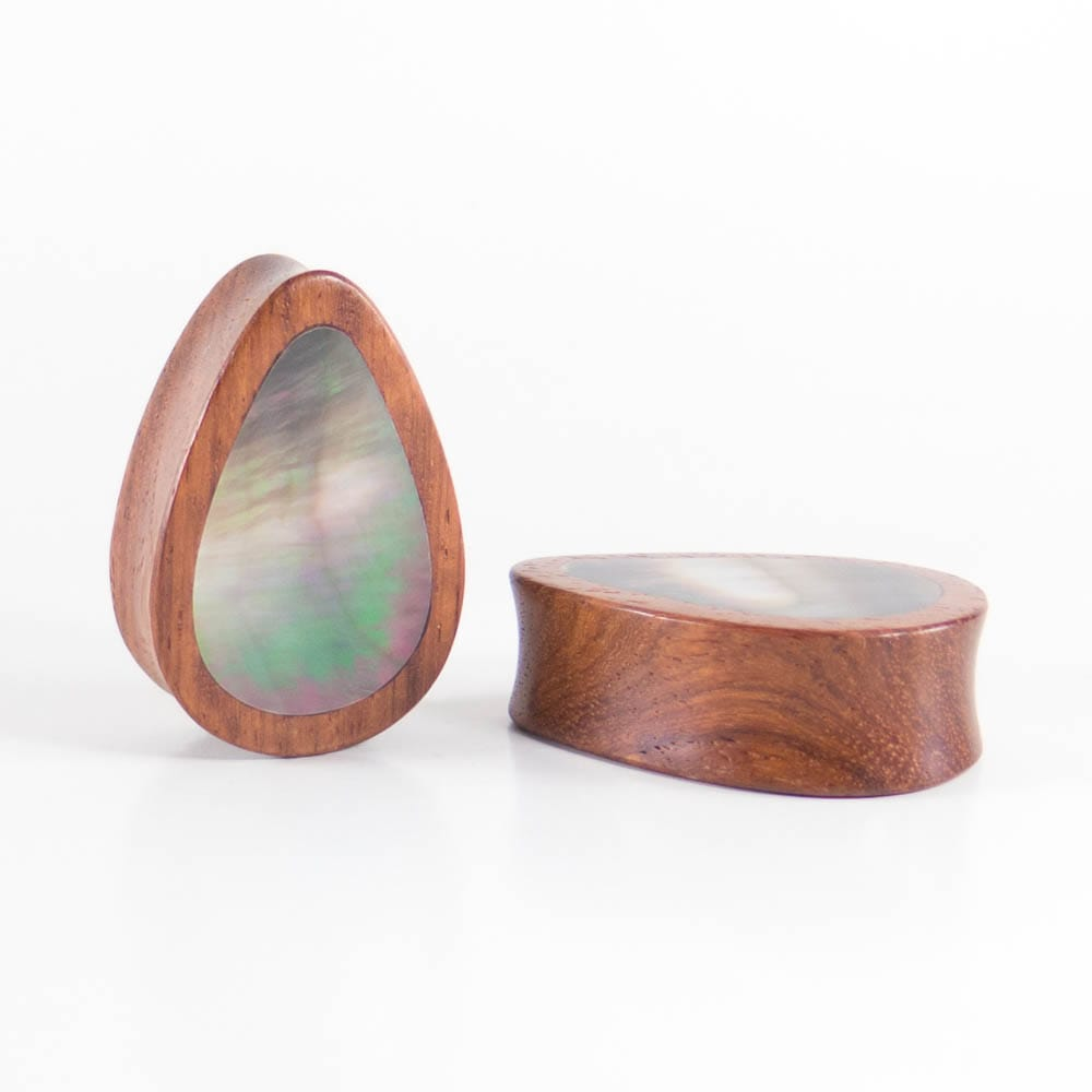 Blood Wood Teardrop Plugs with Black Pearl Shell (Pair)