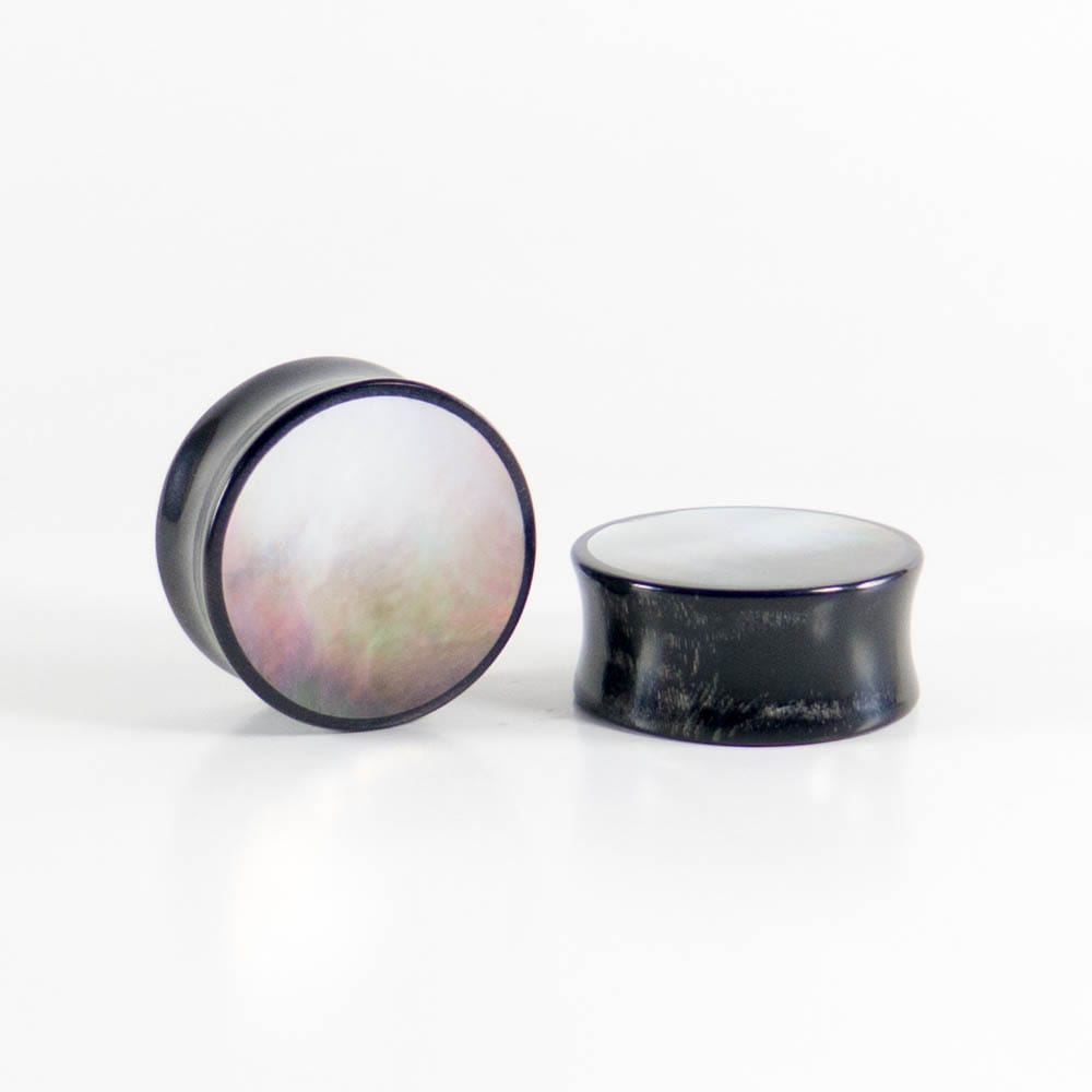 Buffalo Horn Round Plugs with Black Pearl Shell (Pair) - Bare Bones Organics