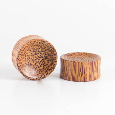 Coconut Palm Concave Plugs (Pair) - Bare Bones Organics