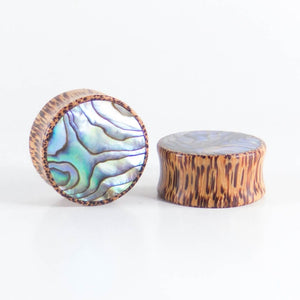 Coconut Palm Round Plugs with Abalone Shell (Pair)