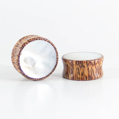 Coconut Palm Round Plugs with Mother of Pearl Shell (Pair) - Bare Bones Organics