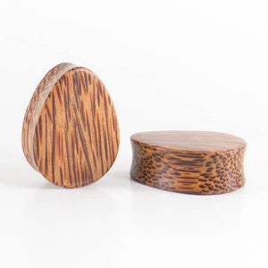 Coconut Palm Teardrop Plugs (Pair) - Bare Bones Organics