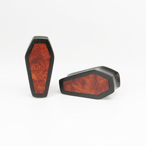 Dark Raintree Coffin Plugs with Burl Walnut (Pair)
